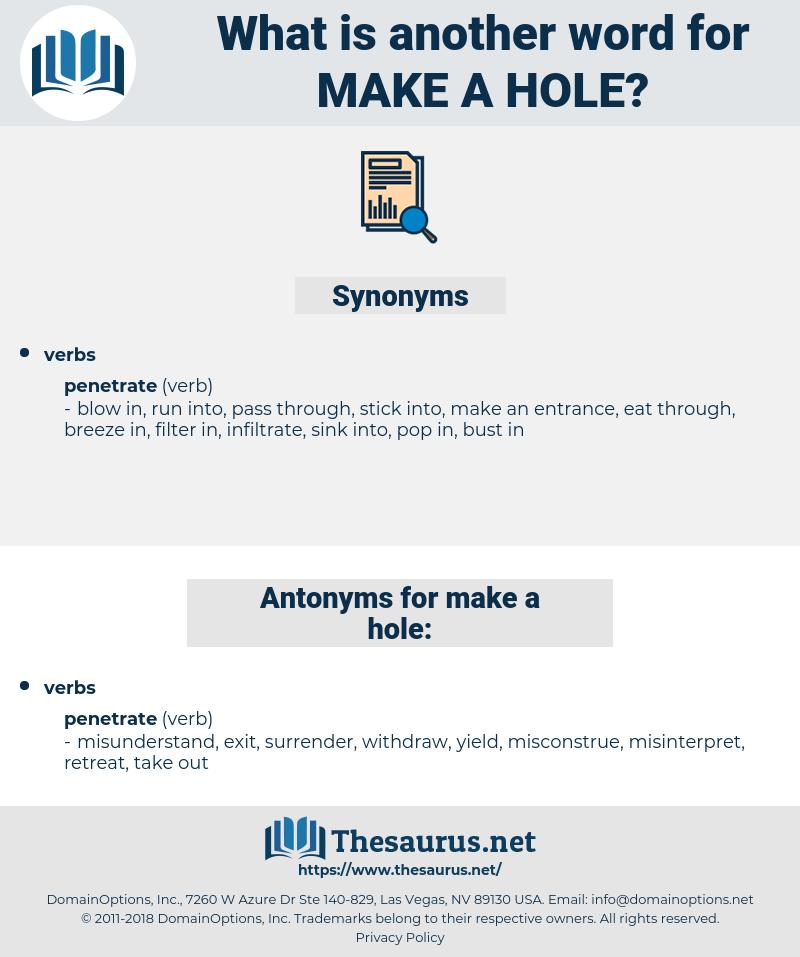 make a hole, synonym make a hole, another word for make a hole, words like make a hole, thesaurus make a hole
