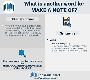 make a note of, synonym make a note of, another word for make a note of, words like make a note of, thesaurus make a note of