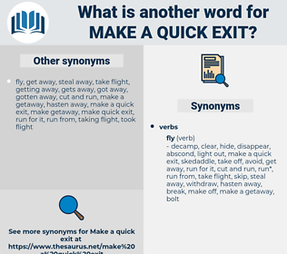 make a quick exit, synonym make a quick exit, another word for make a quick exit, words like make a quick exit, thesaurus make a quick exit