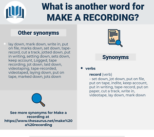 make a recording, synonym make a recording, another word for make a recording, words like make a recording, thesaurus make a recording
