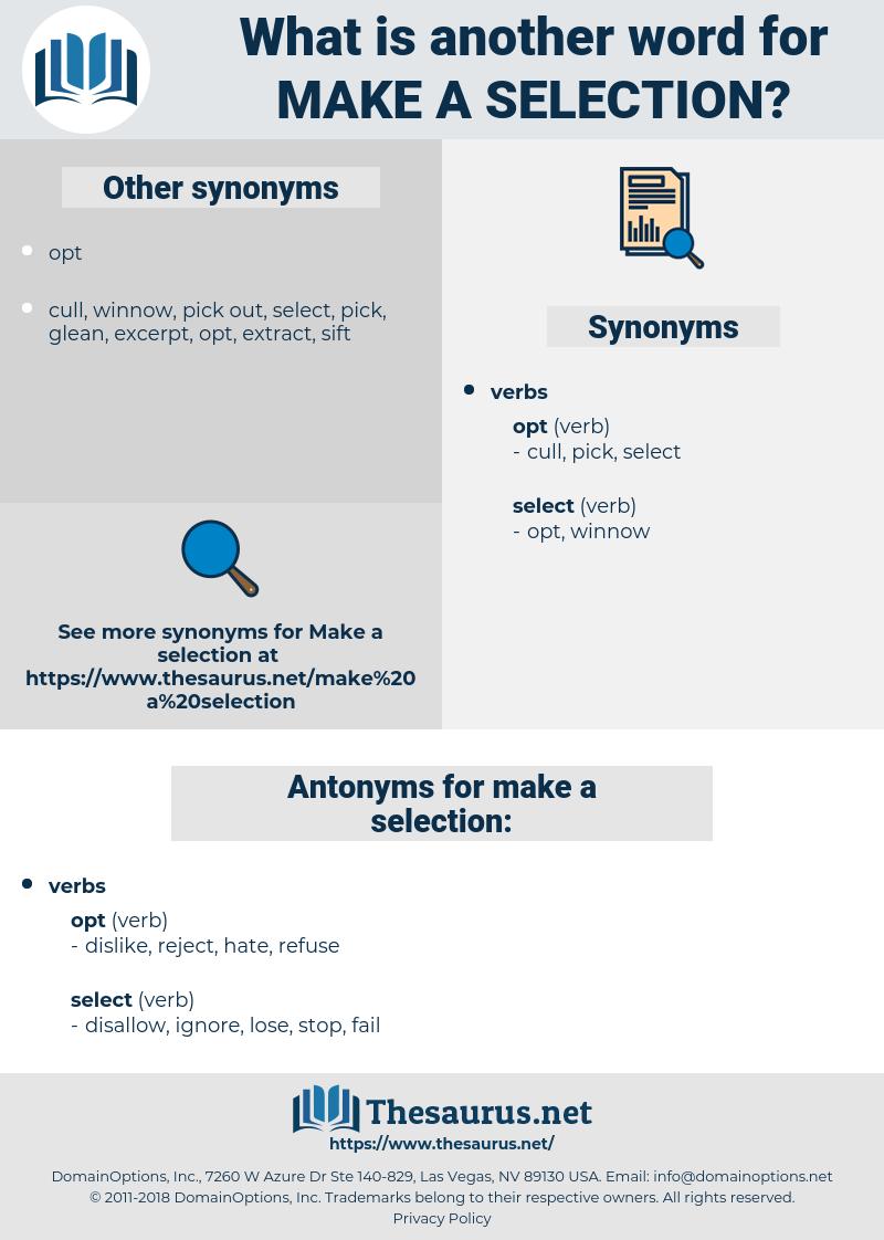 make a selection, synonym make a selection, another word for make a selection, words like make a selection, thesaurus make a selection