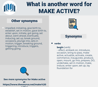 make active, synonym make active, another word for make active, words like make active, thesaurus make active