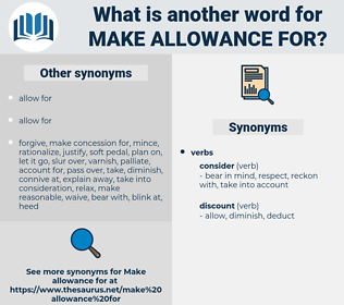 make allowance for, synonym make allowance for, another word for make allowance for, words like make allowance for, thesaurus make allowance for