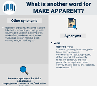 make apparent, synonym make apparent, another word for make apparent, words like make apparent, thesaurus make apparent