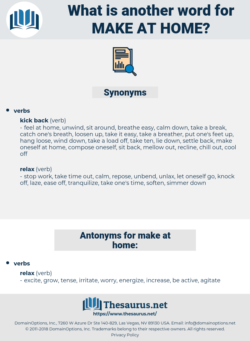 make at home, synonym make at home, another word for make at home, words like make at home, thesaurus make at home