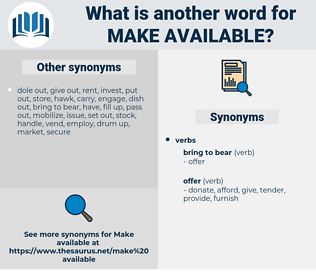 make available, synonym make available, another word for make available, words like make available, thesaurus make available