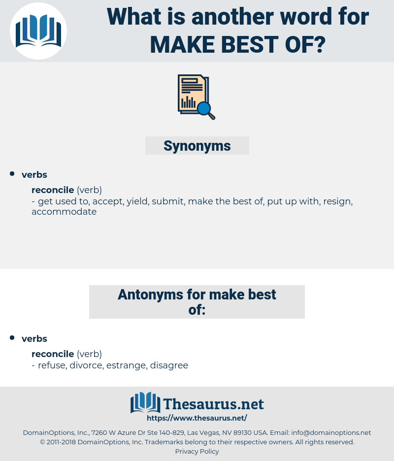 make best of, synonym make best of, another word for make best of, words like make best of, thesaurus make best of