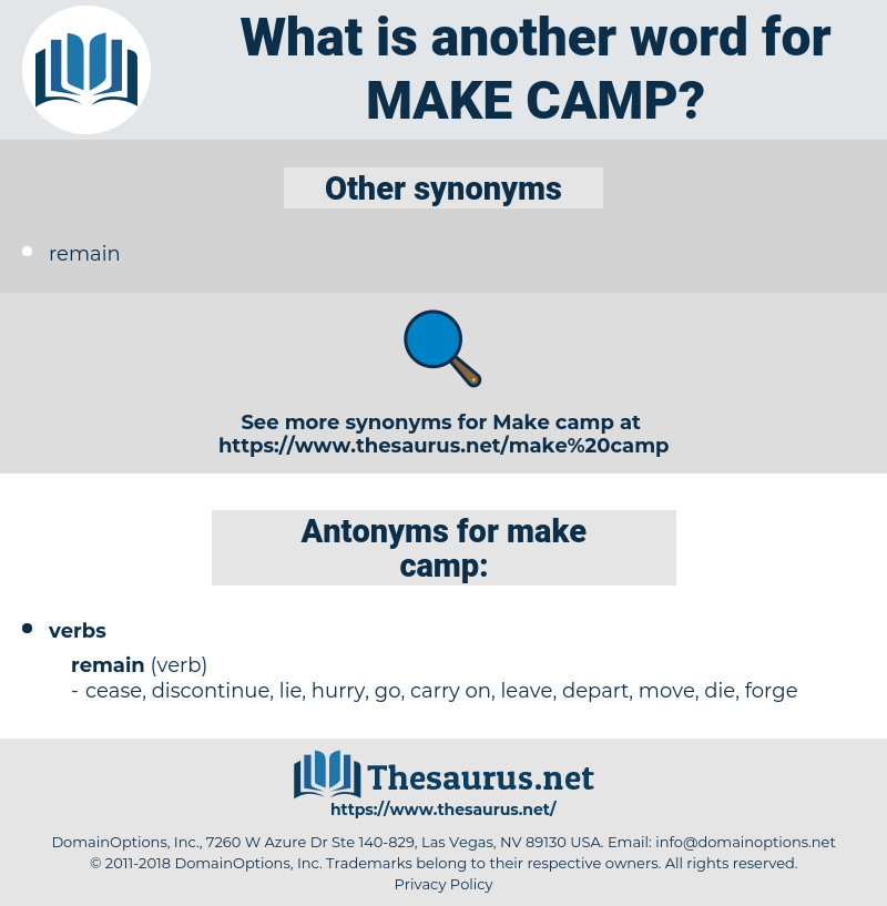 make camp, synonym make camp, another word for make camp, words like make camp, thesaurus make camp