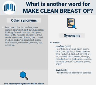 make clean breast of, synonym make clean breast of, another word for make clean breast of, words like make clean breast of, thesaurus make clean breast of