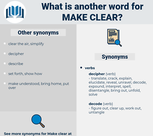 make clear, synonym make clear, another word for make clear, words like make clear, thesaurus make clear
