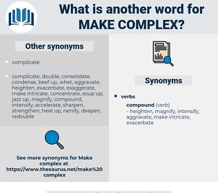 make complex, synonym make complex, another word for make complex, words like make complex, thesaurus make complex