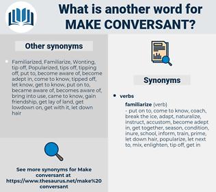 make conversant, synonym make conversant, another word for make conversant, words like make conversant, thesaurus make conversant