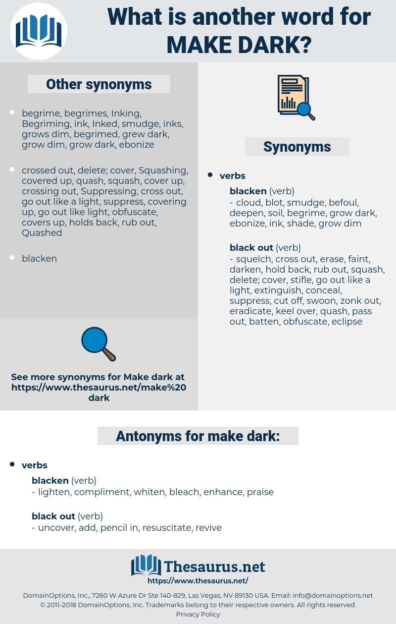 make dark, synonym make dark, another word for make dark, words like make dark, thesaurus make dark