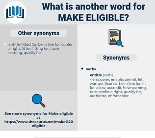 make eligible, synonym make eligible, another word for make eligible, words like make eligible, thesaurus make eligible