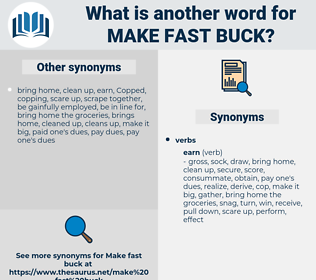 make fast buck, synonym make fast buck, another word for make fast buck, words like make fast buck, thesaurus make fast buck