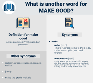 make good, synonym make good, another word for make good, words like make good, thesaurus make good