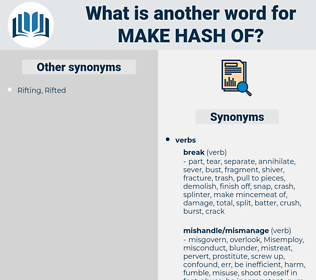 make hash of, synonym make hash of, another word for make hash of, words like make hash of, thesaurus make hash of