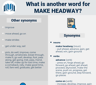 make headway, synonym make headway, another word for make headway, words like make headway, thesaurus make headway