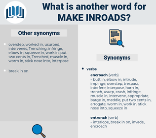 make inroads, synonym make inroads, another word for make inroads, words like make inroads, thesaurus make inroads