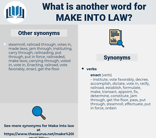 make into law, synonym make into law, another word for make into law, words like make into law, thesaurus make into law