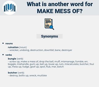 make mess of, synonym make mess of, another word for make mess of, words like make mess of, thesaurus make mess of