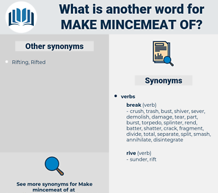 make mincemeat of, synonym make mincemeat of, another word for make mincemeat of, words like make mincemeat of, thesaurus make mincemeat of