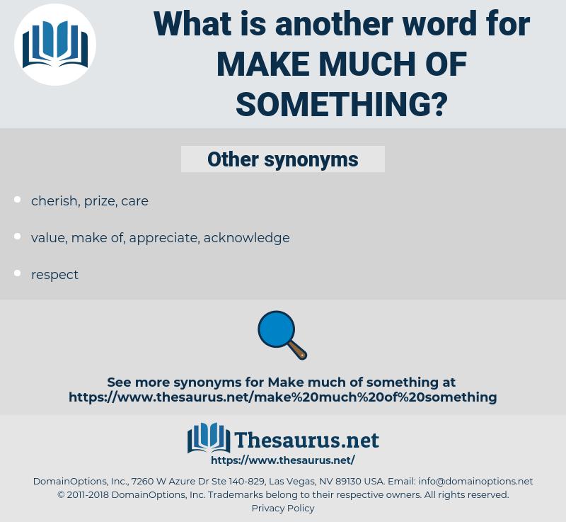 make much of something, synonym make much of something, another word for make much of something, words like make much of something, thesaurus make much of something