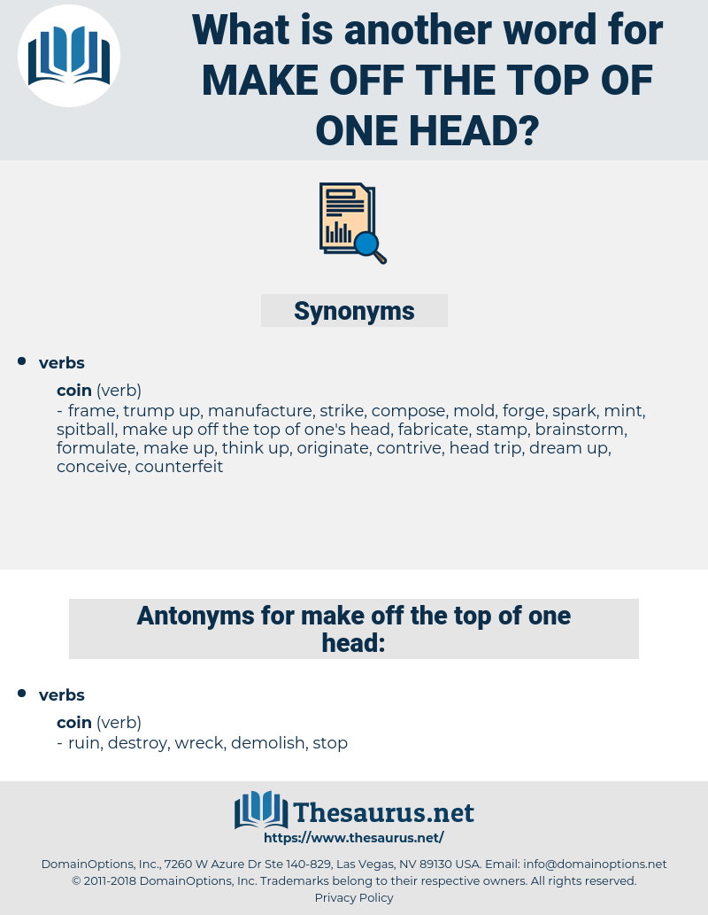 make off the top of one head, synonym make off the top of one head, another word for make off the top of one head, words like make off the top of one head, thesaurus make off the top of one head