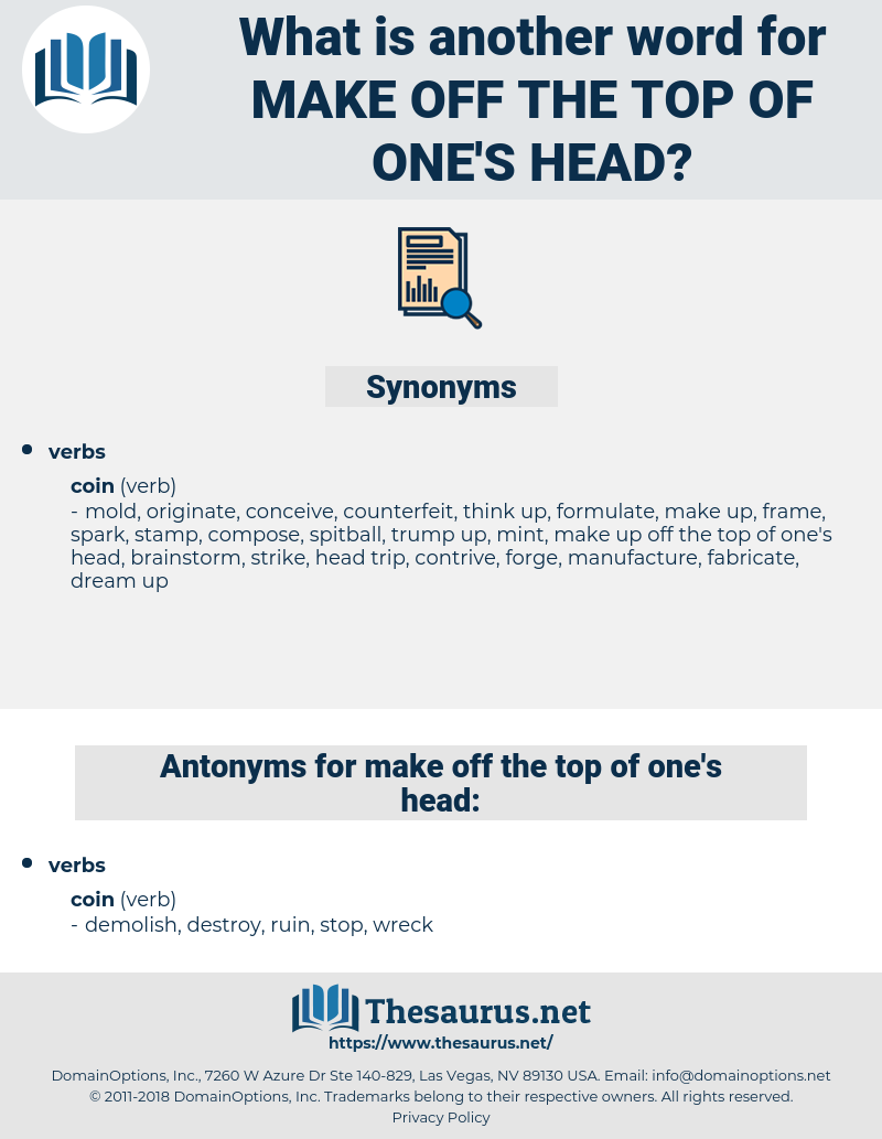 make off the top of one's head, synonym make off the top of one's head, another word for make off the top of one's head, words like make off the top of one's head, thesaurus make off the top of one's head