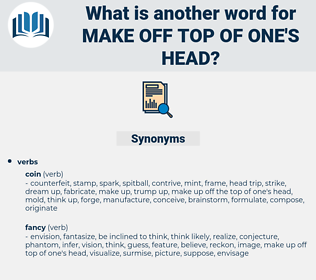make off top of one's head, synonym make off top of one's head, another word for make off top of one's head, words like make off top of one's head, thesaurus make off top of one's head