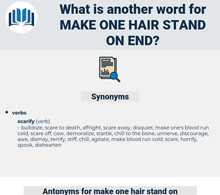 make one hair stand on end, synonym make one hair stand on end, another word for make one hair stand on end, words like make one hair stand on end, thesaurus make one hair stand on end