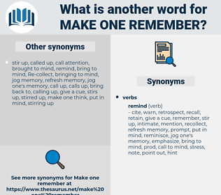 make one remember, synonym make one remember, another word for make one remember, words like make one remember, thesaurus make one remember