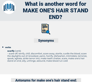 make one's hair stand end, synonym make one's hair stand end, another word for make one's hair stand end, words like make one's hair stand end, thesaurus make one's hair stand end