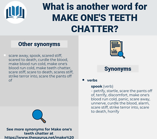 make one's teeth chatter, synonym make one's teeth chatter, another word for make one's teeth chatter, words like make one's teeth chatter, thesaurus make one's teeth chatter