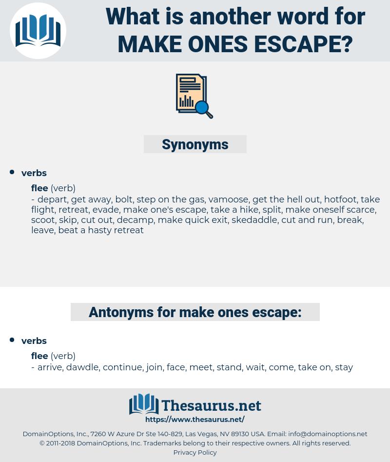 make ones escape, synonym make ones escape, another word for make ones escape, words like make ones escape, thesaurus make ones escape