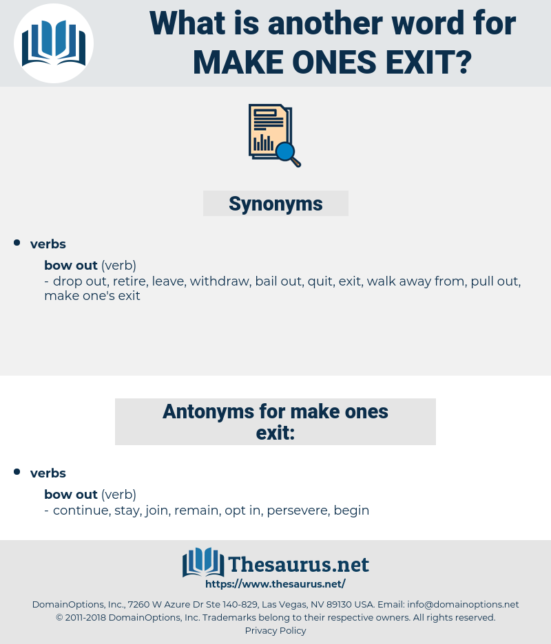 make ones exit, synonym make ones exit, another word for make ones exit, words like make ones exit, thesaurus make ones exit