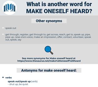 make oneself heard, synonym make oneself heard, another word for make oneself heard, words like make oneself heard, thesaurus make oneself heard