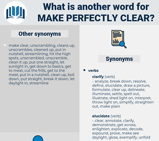 make perfectly clear, synonym make perfectly clear, another word for make perfectly clear, words like make perfectly clear, thesaurus make perfectly clear