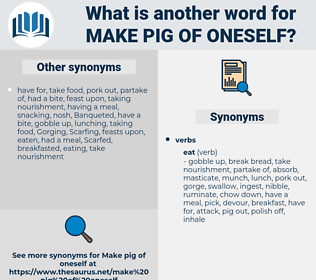 make pig of oneself, synonym make pig of oneself, another word for make pig of oneself, words like make pig of oneself, thesaurus make pig of oneself