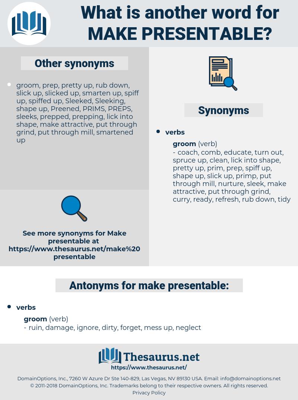 make presentable, synonym make presentable, another word for make presentable, words like make presentable, thesaurus make presentable