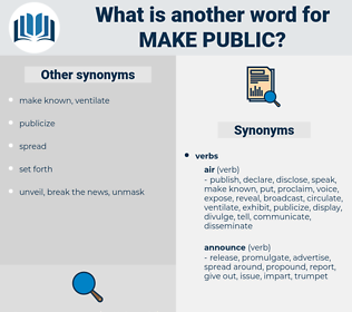 make public, synonym make public, another word for make public, words like make public, thesaurus make public
