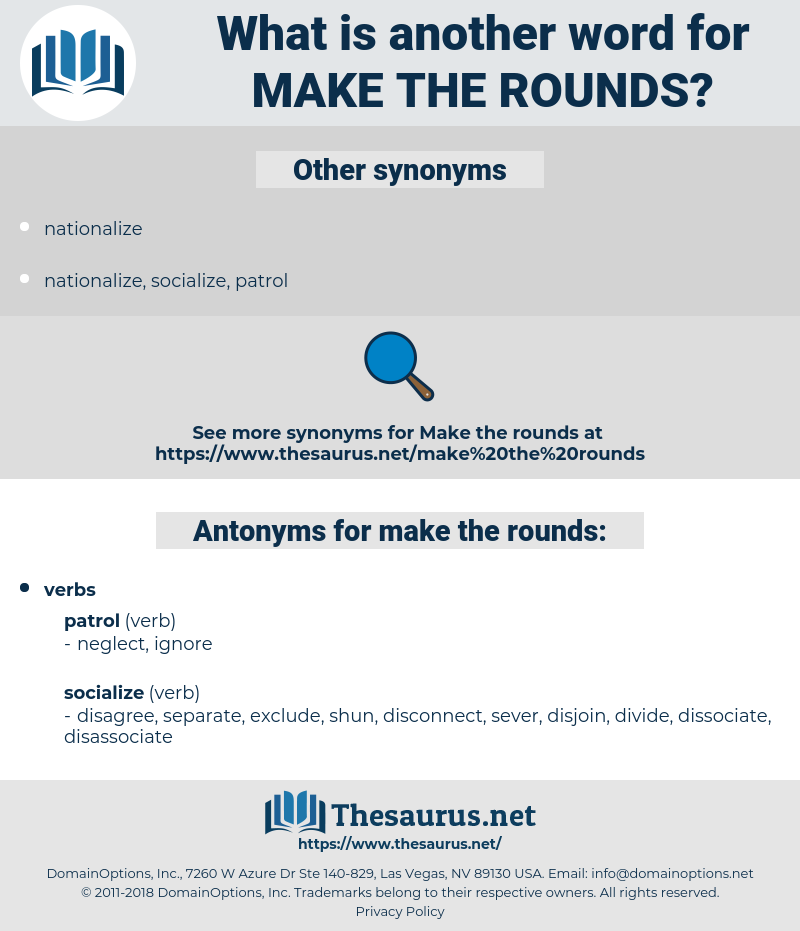 make the rounds, synonym make the rounds, another word for make the rounds, words like make the rounds, thesaurus make the rounds