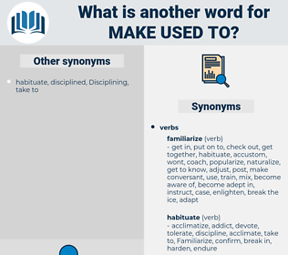 make used to, synonym make used to, another word for make used to, words like make used to, thesaurus make used to