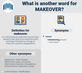 makeover, synonym makeover, another word for makeover, words like makeover, thesaurus makeover