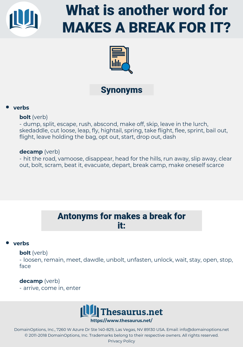 makes a break for it, synonym makes a break for it, another word for makes a break for it, words like makes a break for it, thesaurus makes a break for it