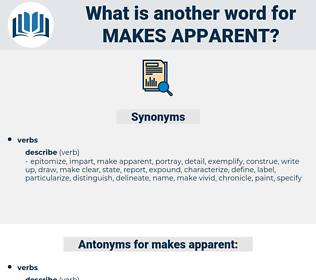 makes apparent, synonym makes apparent, another word for makes apparent, words like makes apparent, thesaurus makes apparent