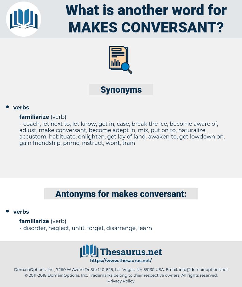 makes conversant, synonym makes conversant, another word for makes conversant, words like makes conversant, thesaurus makes conversant