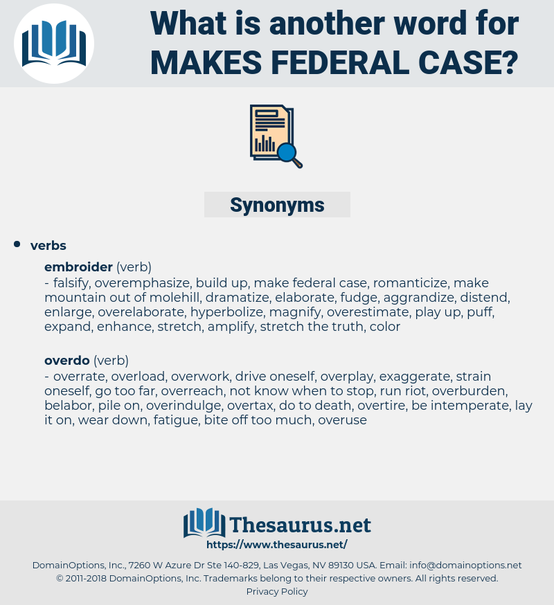 makes federal case, synonym makes federal case, another word for makes federal case, words like makes federal case, thesaurus makes federal case