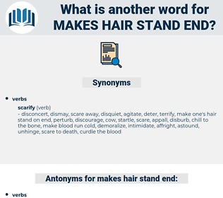 makes hair stand end, synonym makes hair stand end, another word for makes hair stand end, words like makes hair stand end, thesaurus makes hair stand end