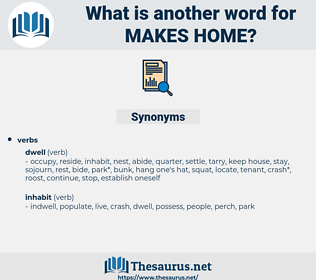 makes home, synonym makes home, another word for makes home, words like makes home, thesaurus makes home